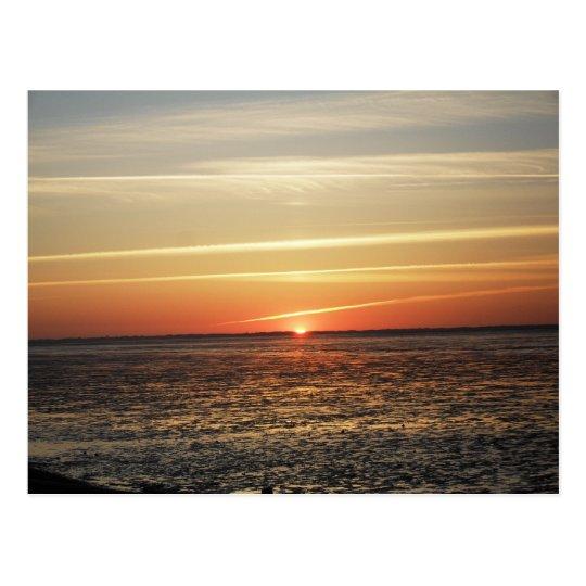 Sonnenuntergang am Meer Watt Ebbe Postkarte