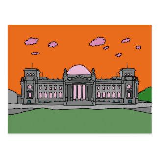 Sonnenuntergang am Reichstag Gebäude in Berlin Postkarte