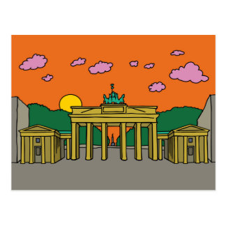 Sonnenuntergang an Brandenburger Tor in Berlin Postkarte