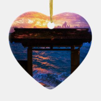 Sonnenuntergang an der Paradies-Bucht Keramik Herz-Ornament