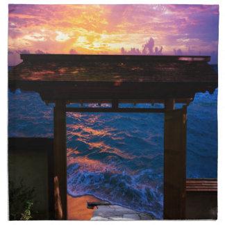 Sonnenuntergang an der Paradies-Bucht Serviette