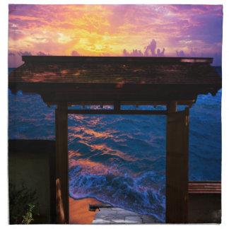 Sonnenuntergang an der Paradies-Bucht Stoffserviette