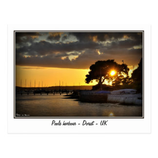 Sonnenuntergang an Poole Hafen - Dorset - Postkarte