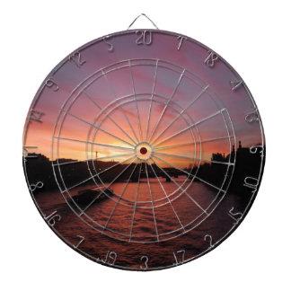 Sonnenuntergang auf dem Fluss die Seine Dartscheibe