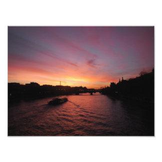 Sonnenuntergang auf dem Fluss die Seine Fotodruck