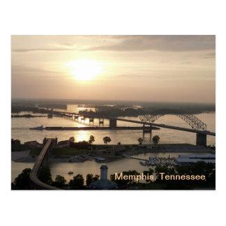 Sonnenuntergang auf dem Fluss Mississipi Postkarte