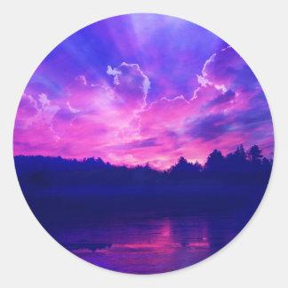 Sonnenuntergang auf dem Horizont Runder Aufkleber