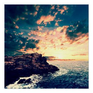 Sonnenuntergang auf dem Horizont Poster
