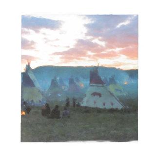 Sonnenuntergang auf dem Lager Notizblock