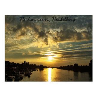 Sonnenuntergang auf dem Neckar, Heidelberg Postkarte
