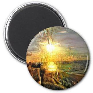 Sonnenuntergang auf dem Strand Runder Magnet 5,1 Cm