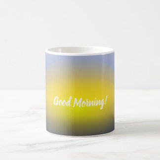Sonnenuntergang auf dem Wasserdruck mit Blues u. Kaffeetasse