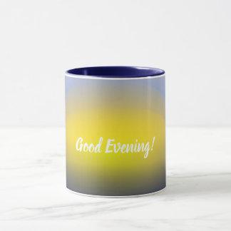 Sonnenuntergang auf dem Wasserdruck mit Blues u. Tasse