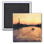 Sonnenuntergang auf der Seine in Paris, Frankreich Kühlschrankmagnet