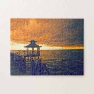 Sonnenuntergang auf einem Strand in Jamaika Puzzle