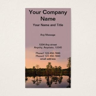 Sonnenuntergang auf einem Zypresse-Sumpf Visitenkarte