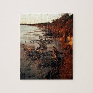 Sonnenuntergang auf Treibholz Puzzle