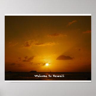 Sonnenuntergang auf Waikiki in Hawaii Poster