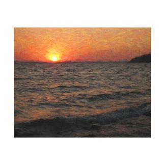 Sonnenuntergang auf Yellowstone See Leinwanddruck