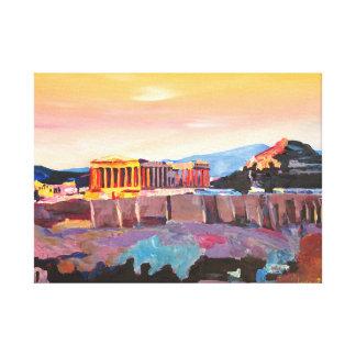 Sonnenuntergang bei Akropolis in Athen Leinwanddruck