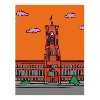 Sonnenuntergang bei rotem Cityhall in Berlin Postkarte