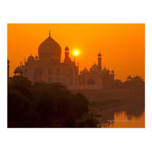 Sonnenuntergang bei Taj Mahal Postkarte