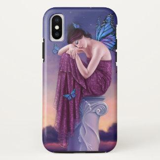 Sonnenuntergang - blaue Monarchfalter-Fee iPhone X Hülle