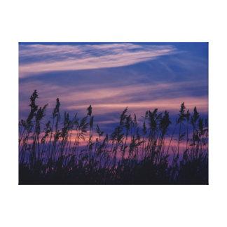 Sonnenuntergang - blauer Himmel Gespannte Galerie Drucke