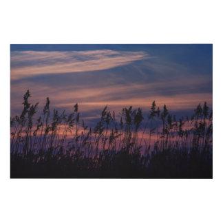 Sonnenuntergang - blauer Himmel Holzleinwand