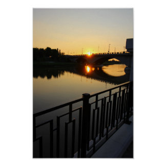 Sonnenuntergang, Broad Street-Brücke, Columbus, Poster
