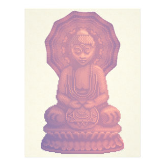 Sonnenuntergang-Buddha-Pixel-Kunst Flyer