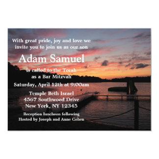 Sonnenuntergang-Camp See-Einladung Karte