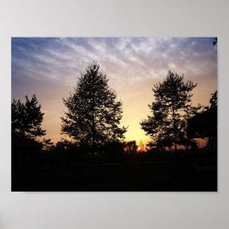 Sonnenuntergang durch Baum-Natur-Fotografie Poster
