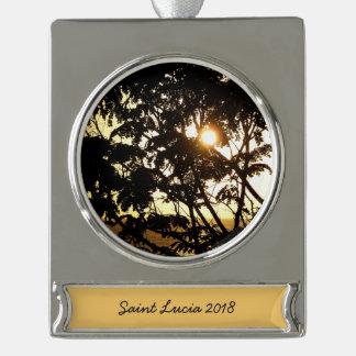 Sonnenuntergang durch tropische Fotografie der Banner-Ornament Silber