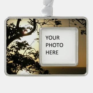 Sonnenuntergang durch tropische Fotografie der Rahmen-Ornament Silber