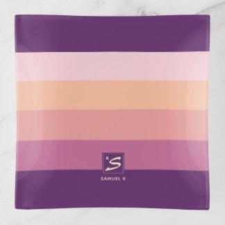 Sonnenuntergang-Farbpaletten-Streifen-Monogramm Dekoschale