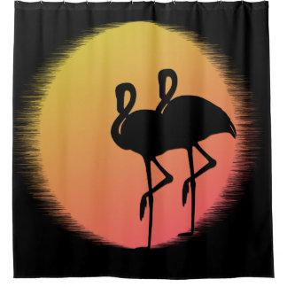 Sonnenuntergang-Flamingos Duschvorhang