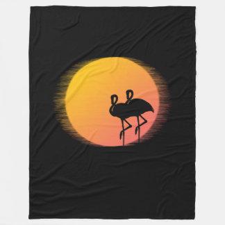 Sonnenuntergang-Flamingos Fleecedecke