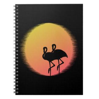 Sonnenuntergang-Flamingos Notizblock