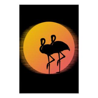 Sonnenuntergang-Flamingos Poster