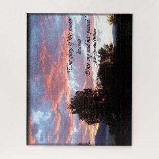 Sonnenuntergang-Foto-Puzzlespiel mit dem Ruhm des Puzzle