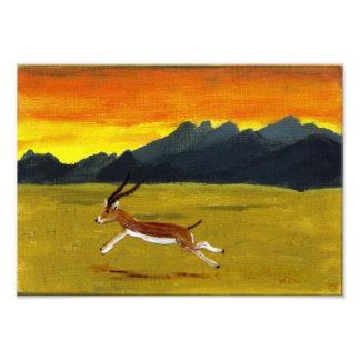 Sonnenuntergang-Gazellen-Kunst Fotodruck