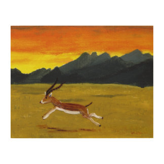 Sonnenuntergang-Gazellen-Tier-Tiermalerei Holzdruck