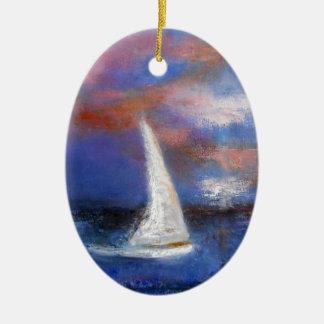 Sonnenuntergang-Hafen-Segel-Meerblick-Malerei Ovales Keramik Ornament