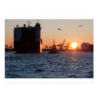 Sonnenuntergang-Hamburg-Hafen Postkarte