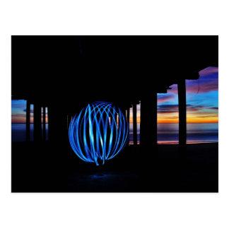 Sonnenuntergang-helle Kugel Postkarte