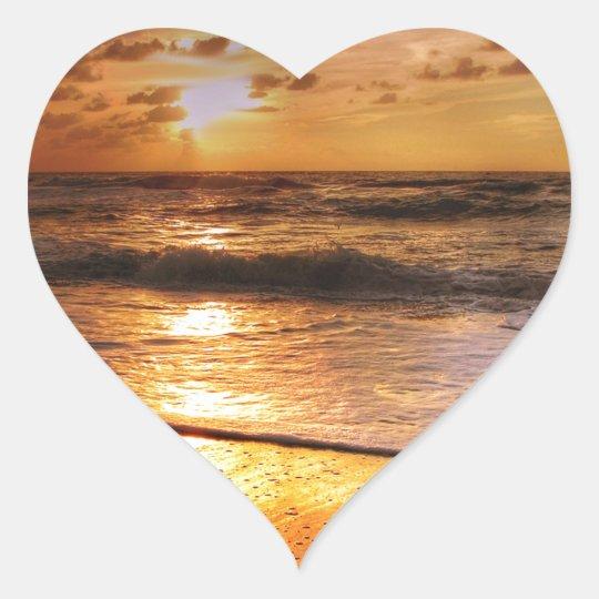 Sonnenuntergang Herz-Aufkleber