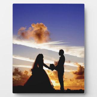 Sonnenuntergang-Hochzeits-Paare Fotoplatte