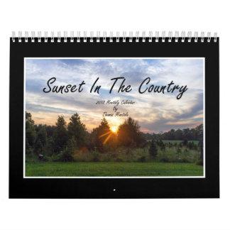 Sonnenuntergang im Monatskalender des Land-2018 Kalender