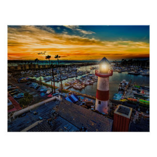 Sonnenuntergang im Ozeanufer-Hafen Poster